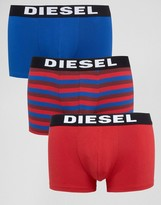 Diesel Logo Waistband Trunks In 3 Pack With Stripe
