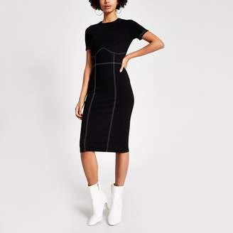 River Island Womens Black contrast stitch bodycon midi dress