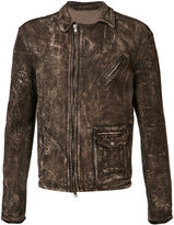 Salvatore Santoro - distressed jacket - men - Leather - 48