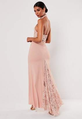 Missguided Tall Bridesmaid Blush Lace Halterneck Fishtail Maxi Dress