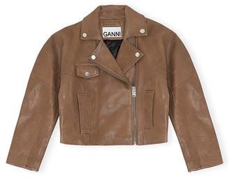 Ganni Oversized Crop Biker Leather Jacket