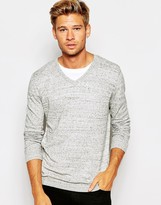 Asos V Neck Sweater in Gray Slub Cotton