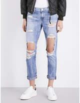 True Religion Ladies Blue Contrast Stitch Concealed zip Cameron Boyfriend-Fit Mid-Rise Jeans