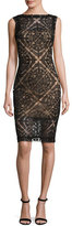 Tadashi Shoji Sleeveless Lace Cocktail Dress, Black/Nude