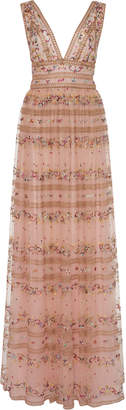 Costarellos Floral-Embroidered Tulle Dress