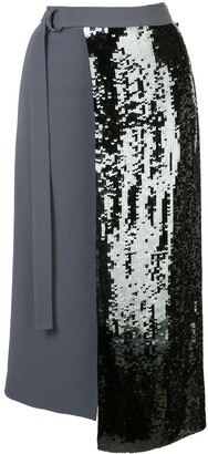 Tibi Sequinned Wrap Skirt