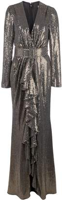 Badgley Mischka Runway Sequin V-Neck Ruffle Gown
