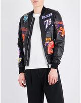 Philipp Plein Basketball Patch Leather Bomber Jacket
