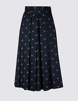 M&S Collection Cotton Rich Printed A-Line Midi Skirt
