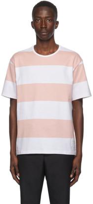 Thom Browne Pink Rugby Stripe Boxy T-Shirt