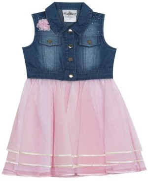 Rare Editions Little Girls Ribbon Mesh Dress with Denim top, Set of 2