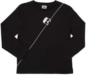 Karl Lagerfeld Paris PRINT COTTON JERSEY T-SHIRT