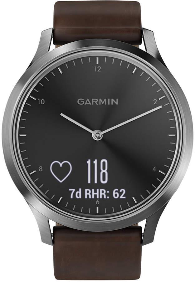 Garmin vivomove Hr Brown Leather Strap Hybrid Smart Watch 43mm