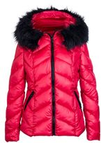Quiz Red Padded Chevron Faux Fur Hood Jacket