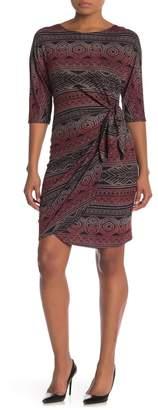 Robbie Bee Geo Print 3/4 Sleeve Wrap Dress