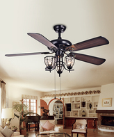 Mirabelle Three-Light Black Metal Ceiling Fan
