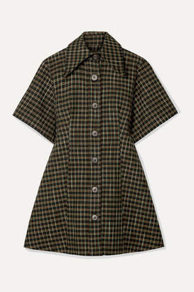 Beaufille Piper Checked Twill Mini Dress - Forest green