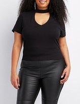 Charlotte Russe Plus Size Choker Neck Crop Top