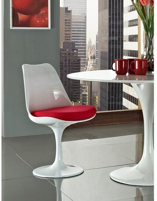 Bsd National Supplies Deland Tulip Style Swivel Dining Chair with Red Cushioned Seat