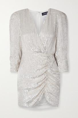 retrofete Stacey Gathered Embellished Chiffon Mini Dress - Ivory
