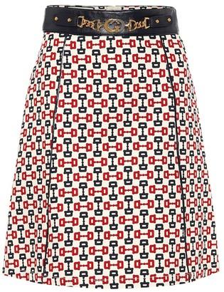 Gucci Printed high-rise cotton miniskirt