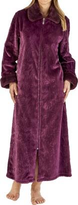Slenderella Ladies Soft Thick Embossed Purple Velvet Fleece Faux Fur Collared Zip Up Bath Robe Dressing Gown House Coat Size XXXL 28 30