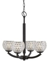 Halogen Heavner 4 - Light Shaded Classic / Traditional Chandelier Ebern Designs Finish: Bronze, Shade Color: Clear Crystal Ball, Bulb Type
