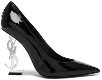 Saint Laurent Opium Patent Monogramme Heels in Black & Silver | FWRD