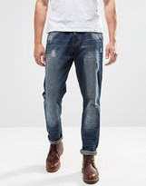 Brave Soul Sandblasted Ripped Slim Fit Jeans