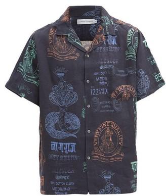 Desmond & Dempsey Khan Market-print Linen Pyjama Shirt - Black Multi