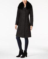 Elie Tahari Raccoon-Fur-Trim Bouclé Walker Coat