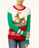 Hooked Up by IOT Juniors' Sequined Reindeer Sweater