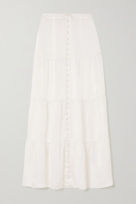 SLEEPING WITH JACQUES The Sylvia Tiered Silk-satin Midi Skirt - White