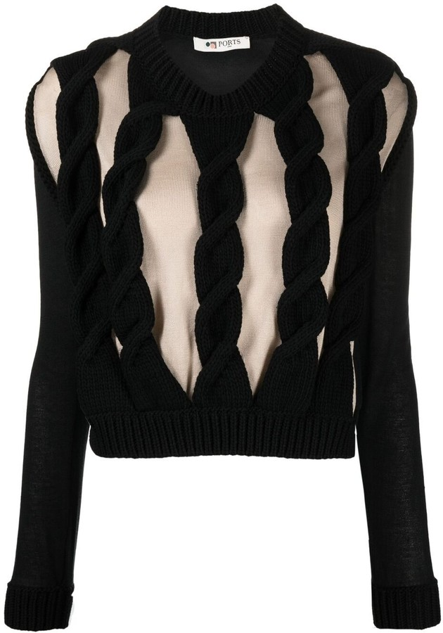 Ports 1961 Cut-Out Cable-Knit Jumper