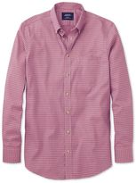 Charles Tyrwhitt Classic Fit Non-Iron Poplin Coral and Navy Check Cotton Casual Shirt Single Cuff Size Medium