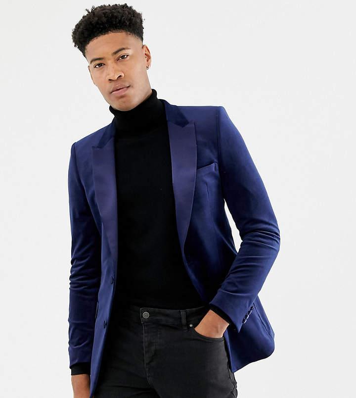47ea495e Design DESIGN Tall skinny blazer in navy velvet