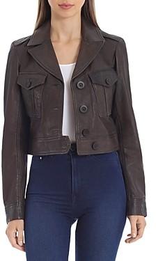 AVEC LES FILLES Cropped Leather Jacket
