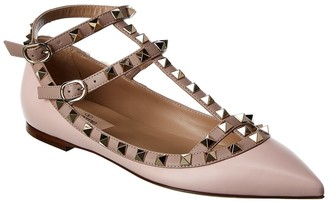 Valentino Rockstud Caged Ankle Strap Leather Ballet Flat