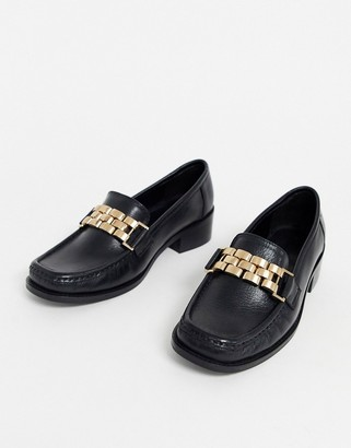Asos DESIGN Minimize square toe chain loafer in black