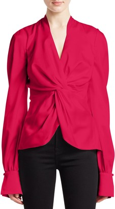 Jonathan Simkhai Satin Twist Front Long-Sleeve Top