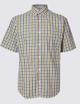 M&s Collection Pure Cotton Gingham Shirt With Pocket