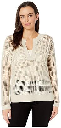 Elliott Lauren Textured Stitch Sweater with Open Neck (Beige) Women's Clothing
