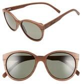 Shwood Women's 'Madison' 54Mm Round Wood Polarized Sunglasses - Dark Walnut/ Grey Polarized
