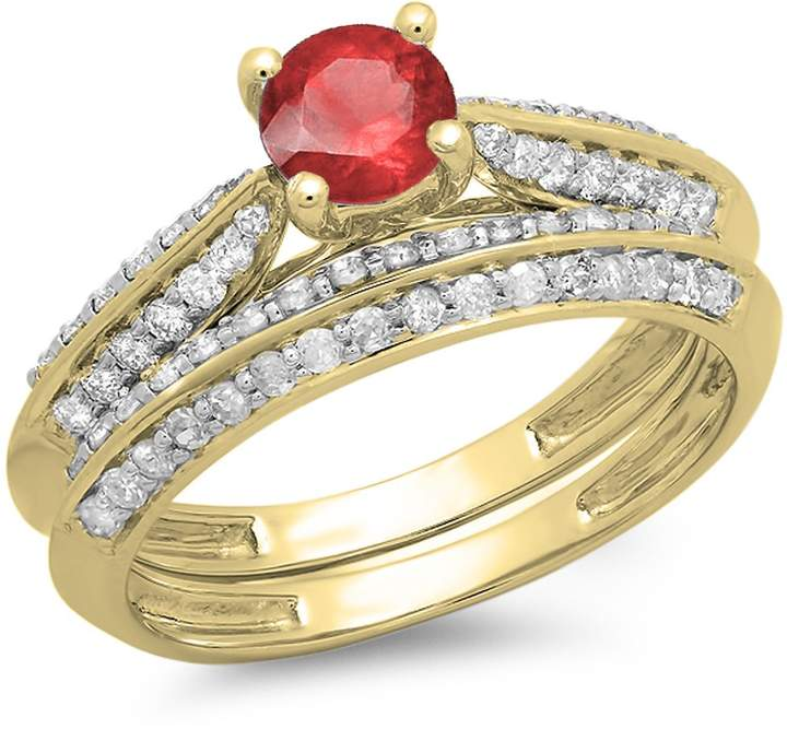 DazzlingRock Collection 1.00 Carat (ctw) 14K Yellow Gold Ruby & White Diamond Bridal Engagement Ring Set 1 CT (Size 6)