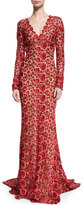 Naeem Khan Long-Sleeve V-Neck Floral Lace Gown, Red