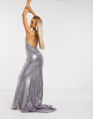 Club L London sequin deep plunge fishtail maxi dress in silver gray