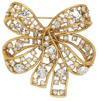 Kenneth Jay Lane Antique Gold Crystal Bow Pin