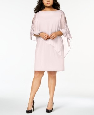 Xscape Evenings Plus Size Beaded Chiffon Popover Dress