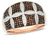 Zales 1/3 CT. T.W. Enhanced Cognac and White Diamond Petal Pattern Ring in 10K Rose Gold