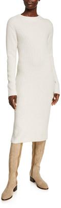 Vince Ribbed Crewneck Long-Sleeve Midi Dress